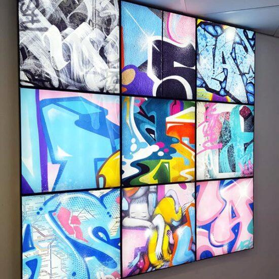 mur cadre artistique bache interchangeable